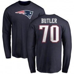 Men's Adam Butler New England Patriots Name & Number Logo Long Sleeve T-Shirt - Navy