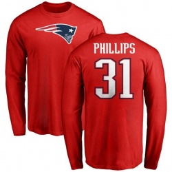Men's Adrian Phillips New England Patriots Name & Number Logo Long Sleeve T-Shirt - Red