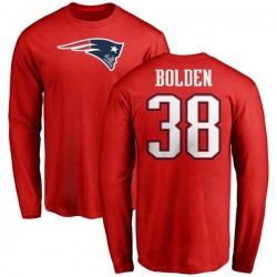 Men's Brandon Bolden New England Patriots Name & Number Logo Long Sleeve T-Shirt - Red