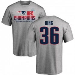 Men's Brandon King New England Patriots 2017 AFC Champions T-Shirt - Heathered Gray