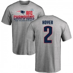 Men's Brian Hoyer New England Patriots 2017 AFC Champions T-Shirt - Heathered Gray