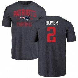 Men's Brian Hoyer New England Patriots Navy Distressed Name & Number Tri-Blend T-Shirt