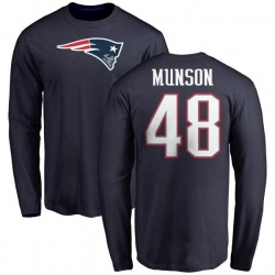 Men's Calvin Munson New England Patriots Name & Number Logo Long Sleeve T-Shirt - Navy