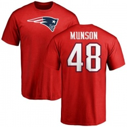 Men's Calvin Munson New England Patriots Name & Number Logo T-Shirt - Red