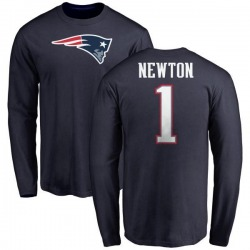 Men's Cam Newton New England Patriots Name & Number Logo Long Sleeve T-Shirt - Navy