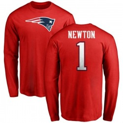 Men's Cam Newton New England Patriots Name & Number Logo Long Sleeve T-Shirt - Red