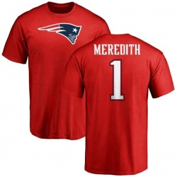 Men's Cameron Meredith New England Patriots Name & Number Logo T-Shirt - Red