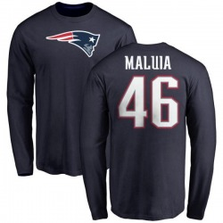 Men's Cassh Maluia New England Patriots Name & Number Logo Long Sleeve T-Shirt - Navy