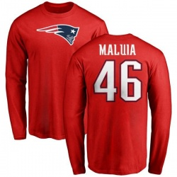 Men's Cassh Maluia New England Patriots Name & Number Logo Long Sleeve T-Shirt - Red