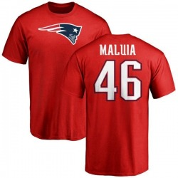 Men's Cassh Maluia New England Patriots Name & Number Logo T-Shirt - Red