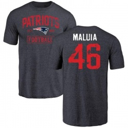Men's Cassh Maluia New England Patriots Navy Distressed Name & Number Tri-Blend T-Shirt
