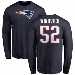 Men's Chase Winovich New England Patriots Name & Number Logo Long Sleeve T-Shirt - Navy