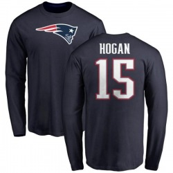 Men's Chris Hogan New England Patriots Name & Number Logo Long Sleeve T-Shirt - Navy