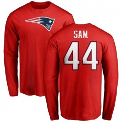Men's Christian Sam New England Patriots Name & Number Logo Long Sleeve T-Shirt - Red
