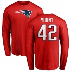 Men's Christian Yount New England Patriots Name & Number Logo Long Sleeve T-Shirt - Red