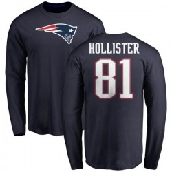 Men's Cody Hollister New England Patriots Name & Number Logo Long Sleeve T-Shirt - Navy