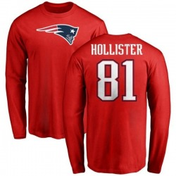 Men's Cody Hollister New England Patriots Name & Number Logo Long Sleeve T-Shirt - Red