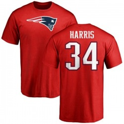 Men's Damien Harris New England Patriots Name & Number Logo T-Shirt - Red