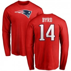 Men's Damiere Byrd New England Patriots Name & Number Logo Long Sleeve T-Shirt - Red