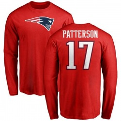Men's Damoun Patterson New England Patriots Name & Number Logo Long Sleeve T-Shirt - Red