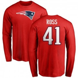 Men's D'Angelo Ross New England Patriots Name & Number Logo Long Sleeve T-Shirt - Red