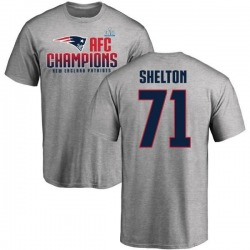 Men's Danny Shelton New England Patriots 2017 AFC Champions T-Shirt - Heathered Gray