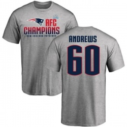 Men's David Andrews New England Patriots 2017 AFC Champions T-Shirt - Heathered Gray