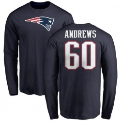 Men's David Andrews New England Patriots Name & Number Logo Long Sleeve T-Shirt - Navy