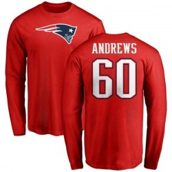 Men's David Andrews New England Patriots Name & Number Logo Long Sleeve T-Shirt - Red