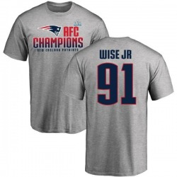 Men's Deatrich Wise Jr. New England Patriots 2017 AFC Champions T-Shirt - Heathered Gray