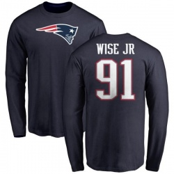 Men's Deatrich Wise Jr. New England Patriots Name & Number Logo Long Sleeve T-Shirt - Navy