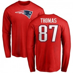 Men's Demaryius Thomas New England Patriots Name & Number Logo Long Sleeve T-Shirt - Red
