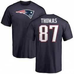 Men's Demaryius Thomas New England Patriots Name & Number Logo T-Shirt - Navy