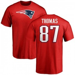 Men's Demaryius Thomas New England Patriots Name & Number Logo T-Shirt - Red