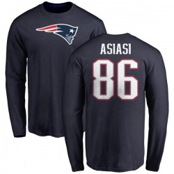 Men's Devin Asiasi New England Patriots Name & Number Logo Long Sleeve T-Shirt - Navy