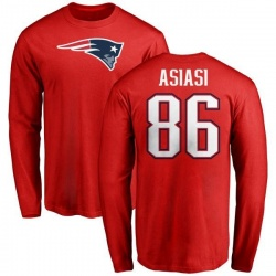 Men's Devin Asiasi New England Patriots Name & Number Logo Long Sleeve T-Shirt - Red