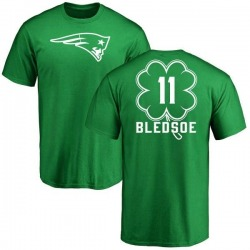 Men's Drew Bledsoe New England Patriots Green St. Patrick's Day Name & Number T-Shirt