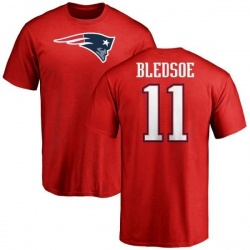 Men's Drew Bledsoe New England Patriots Name & Number Logo T-Shirt - Red