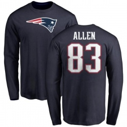 Men's Dwayne Allen New England Patriots Name & Number Logo Long Sleeve T-Shirt - Navy