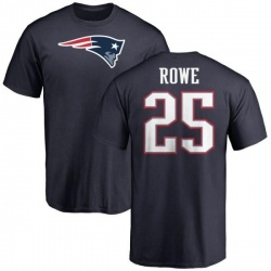 Men's Eric Rowe New England Patriots Name & Number Logo T-Shirt - Navy