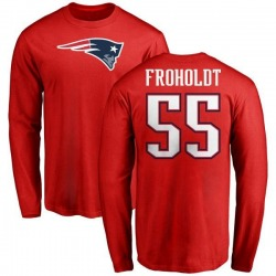 Men's Hjalte Froholdt New England Patriots Name & Number Logo Long Sleeve T-Shirt - Red