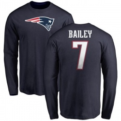 Men's Jake Bailey New England Patriots Name & Number Logo Long Sleeve T-Shirt - Navy