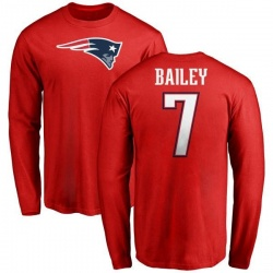 Men's Jake Bailey New England Patriots Name & Number Logo Long Sleeve T-Shirt - Red