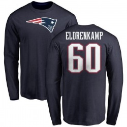 Men's Jake Eldrenkamp New England Patriots Name & Number Logo Long Sleeve T-Shirt - Navy
