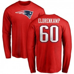 Men's Jake Eldrenkamp New England Patriots Name & Number Logo Long Sleeve T-Shirt - Red