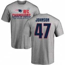 Men's Jakob Johnson New England Patriots 2017 AFC Champions T-Shirt - Heathered Gray