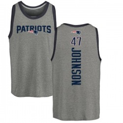 Men's Jakob Johnson New England Patriots Backer Tri-Blend Tank Top - Ash