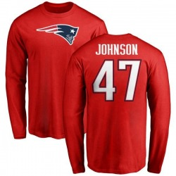 Men's Jakob Johnson New England Patriots Name & Number Logo Long Sleeve T-Shirt - Red