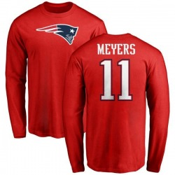 Men's Jakobi Meyers New England Patriots Name & Number Logo Long Sleeve T-Shirt - Red