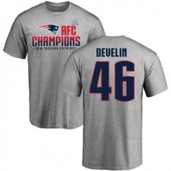 Men's James Develin New England Patriots 2017 AFC Champions T-Shirt - Heathered Gray